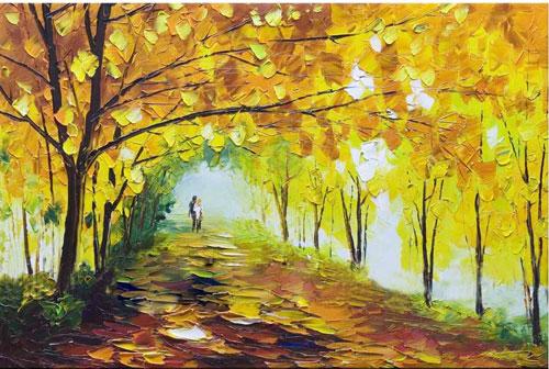 Tranh trang trí phong cảnh mùa thu nhẹ nhàng và yên bình
