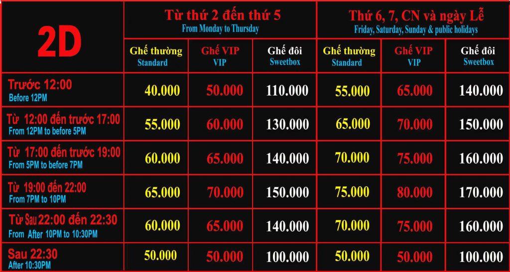 Giá vé xem phim 2D rạp Quốc gia